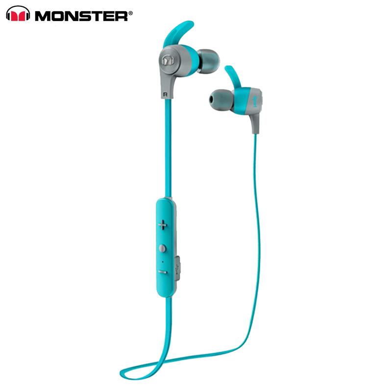 Original Monster iSport Achieve Wireless In-Ear Sports Earphone With MIC Sweatproof Noise Reduction Bluetooth Earphones Running Headset blue