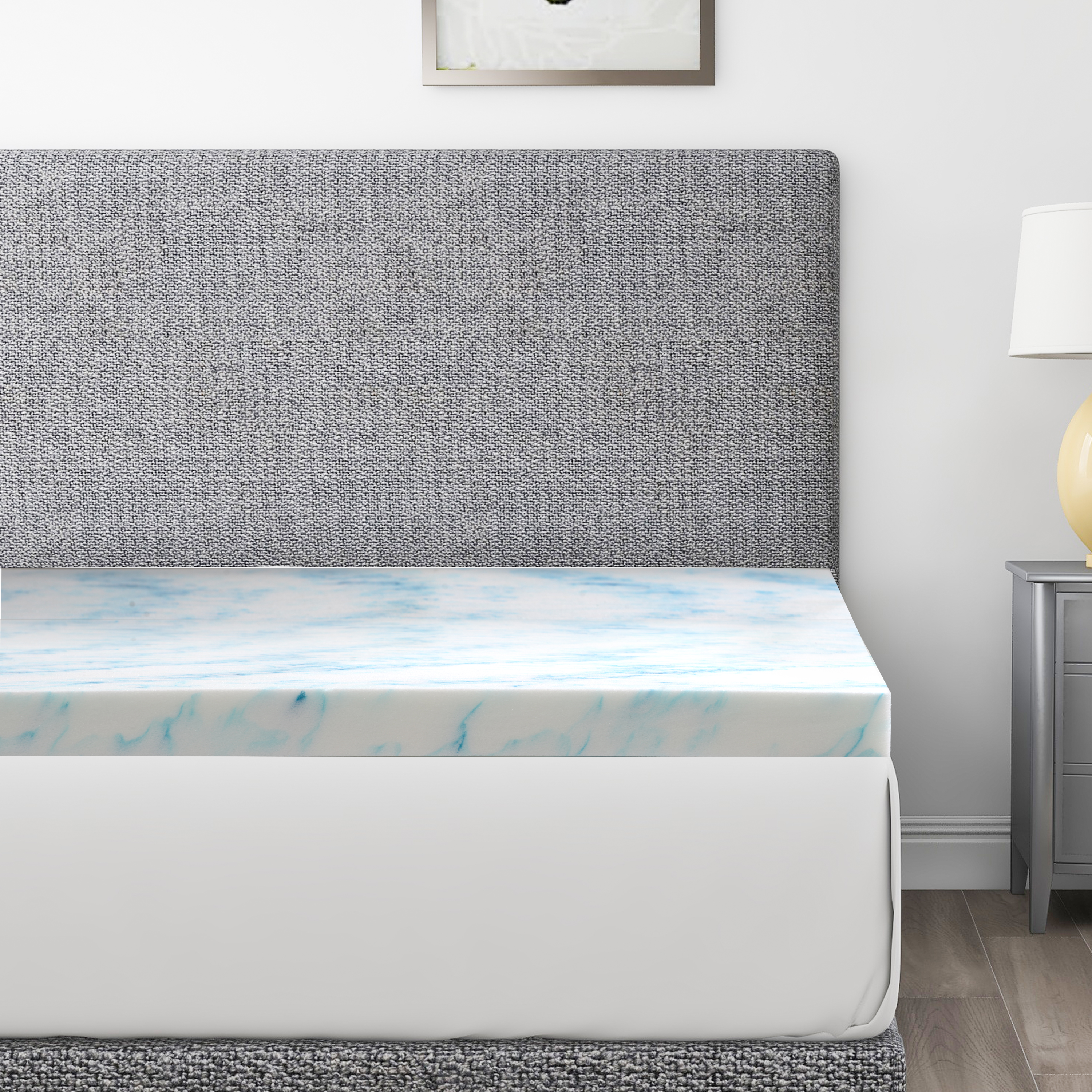 [US Direct] 3 Inch Gel and Aloe Infused Memory Foam Mattress Topper, Queen