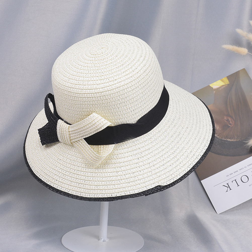 Summer Straw Hat for Women Sun-shade Seaside Ultraviolet-proof Beach Hat Foldable Hat Bow milk white