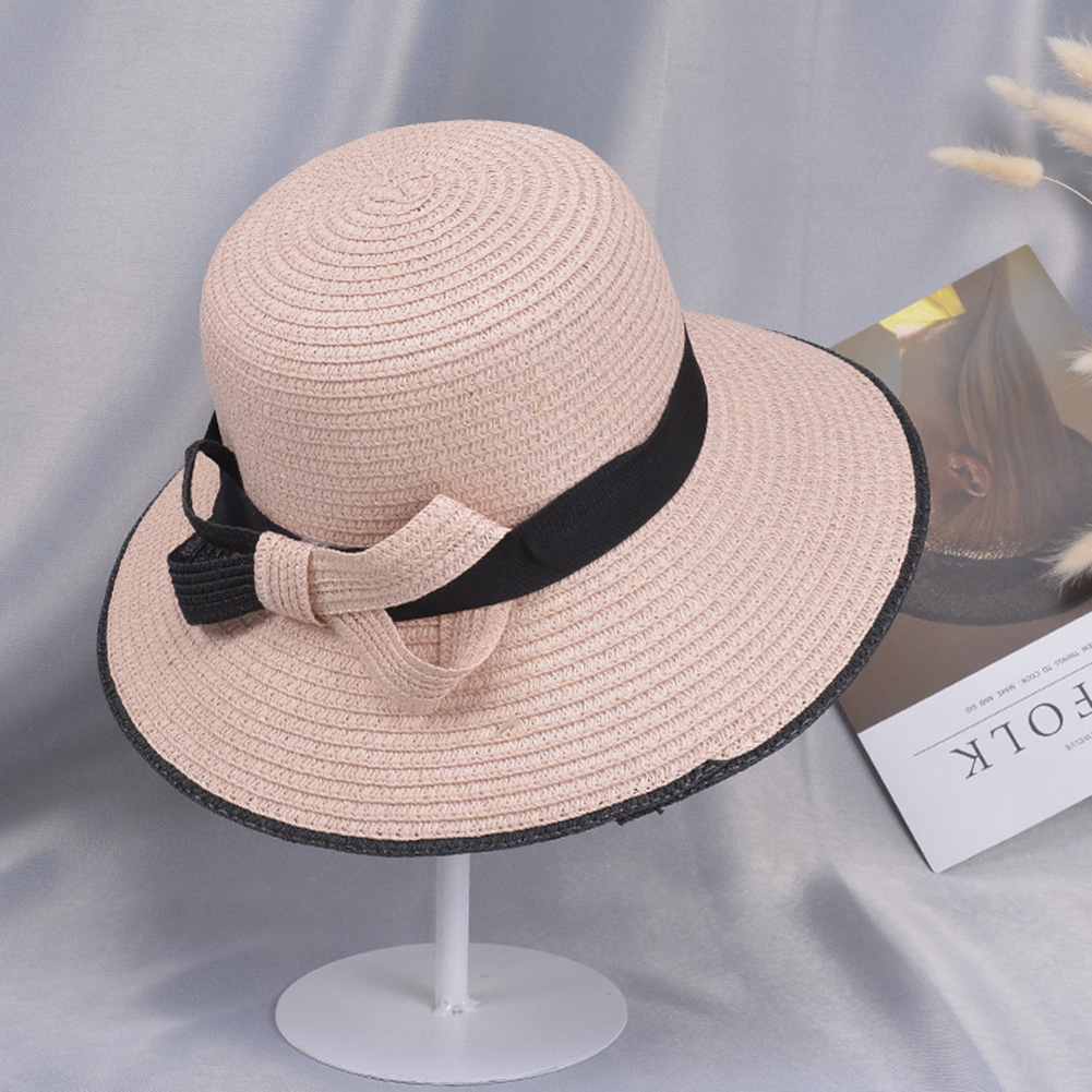 Summer Straw Hat for Women Sun-shade Seaside Ultraviolet-proof Beach Hat Foldable Hat Bow pink