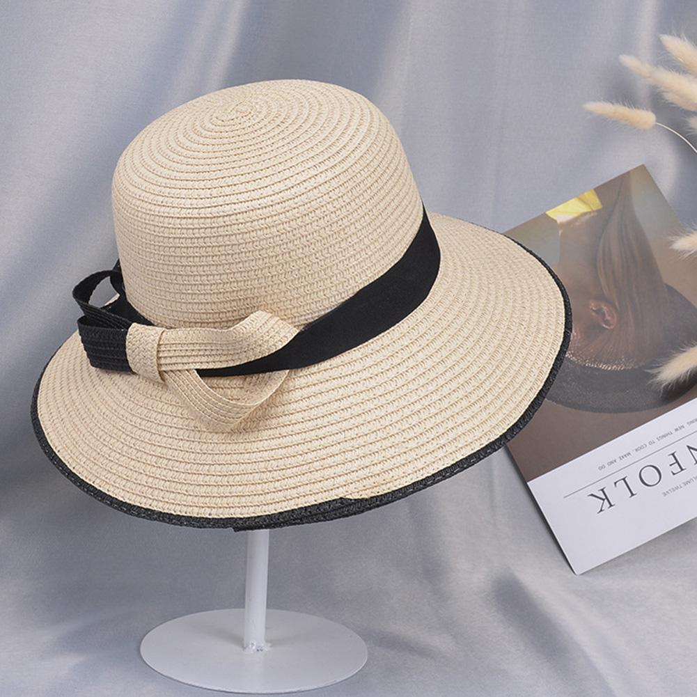 Summer Straw Hat for Women Sun-shade Seaside Ultraviolet-proof Beach Hat Foldable Hat Bow beige