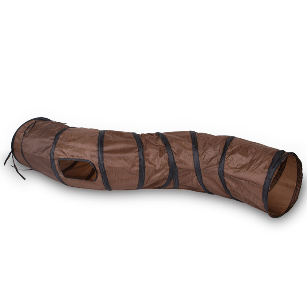 S-shaped Tunnel Curved Cat Runway Foldable Multicolour Pet Supplies brown_free size