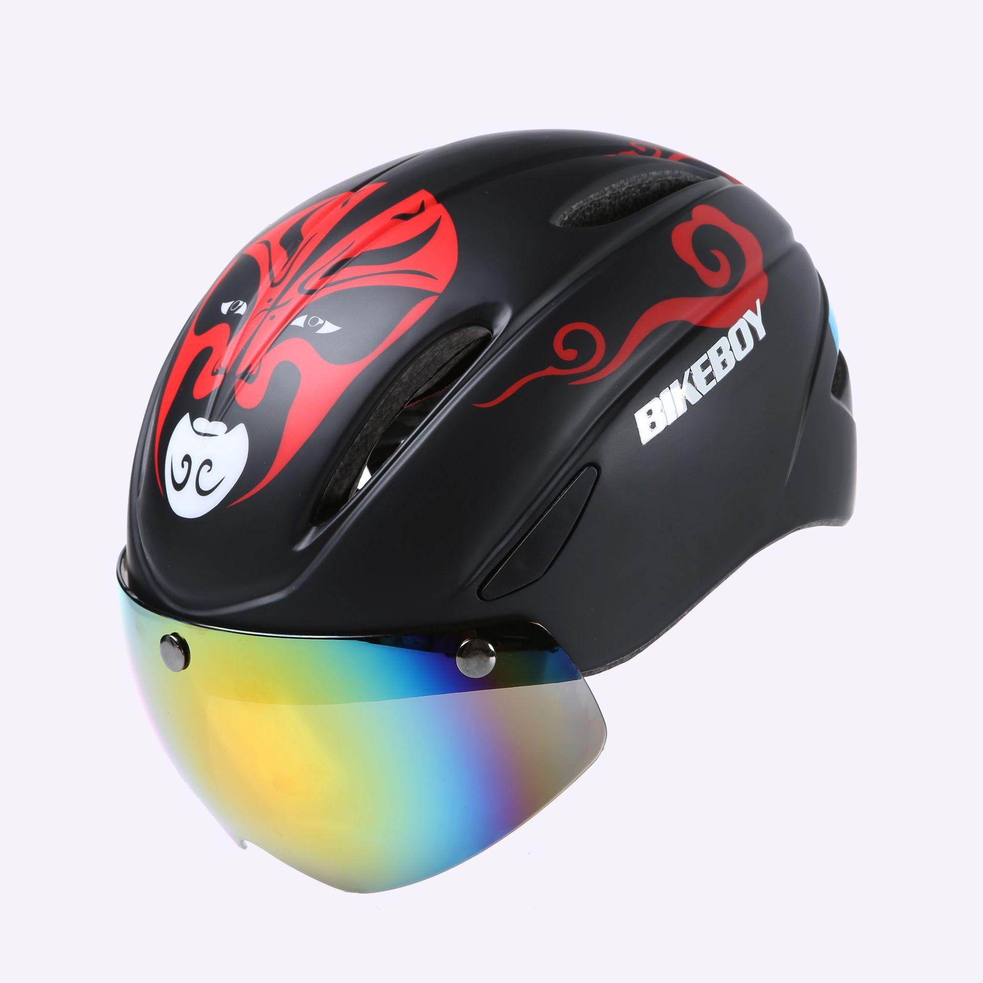Bikeboy Riding Helmet Glasses One-piece Men Road Bike Mountain Bike Helmet Bicycle Helmet Restraint Goggles Pattern B - matte_Free size - gray lenses