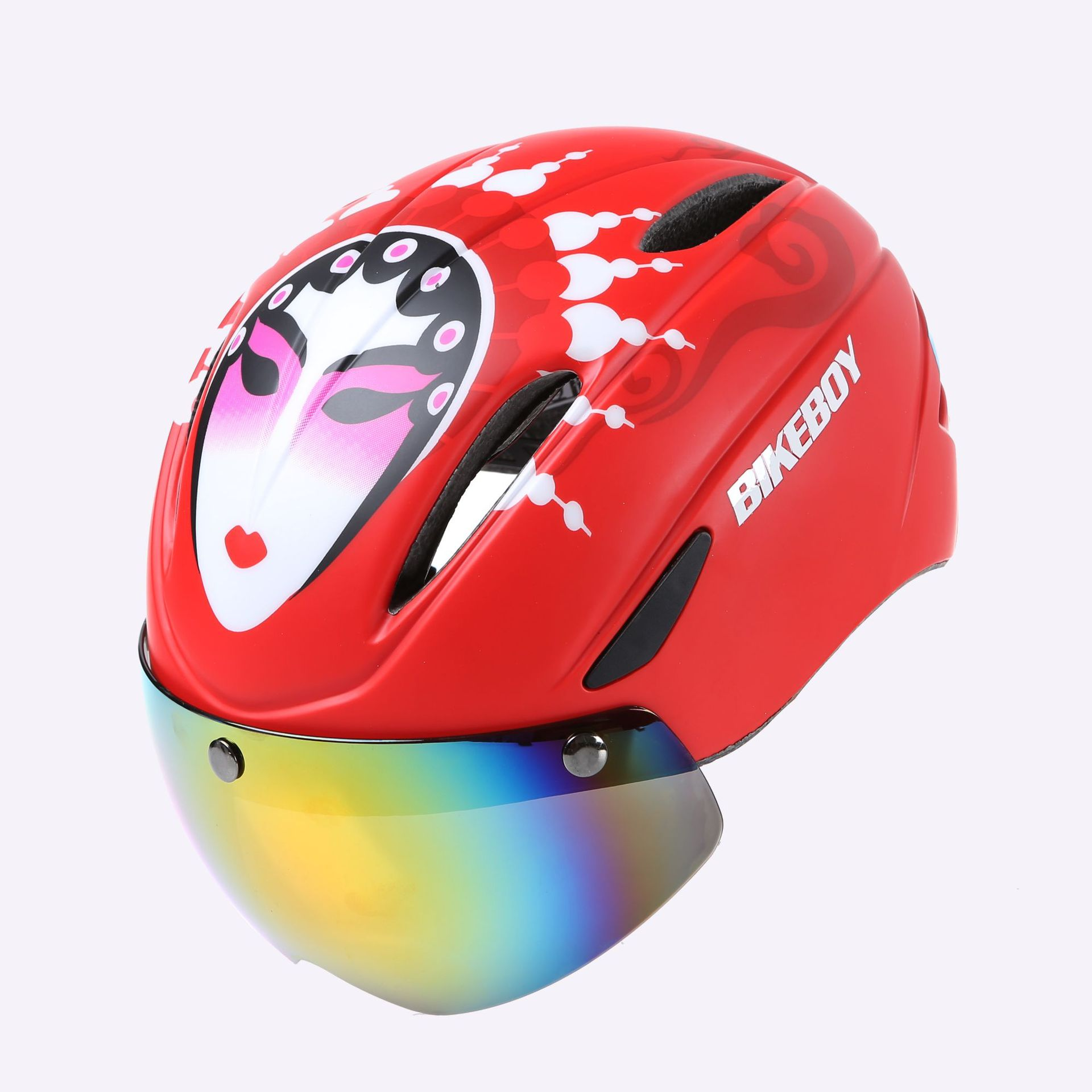 Bikeboy Riding Helmet Glasses One-piece Men Road Bike Mountain Bike Helmet Bicycle Helmet Restraint Goggles Pattern A  - matte_Free size - gray lenses