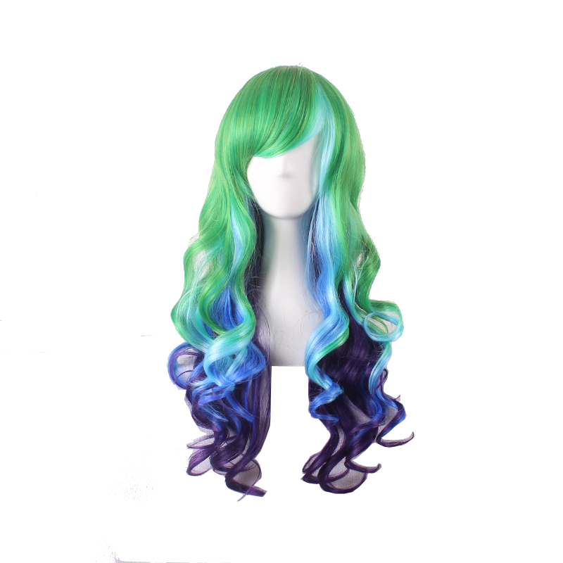 Women Long Curly Cosplay Wig Oblique Bang Heat Resistant Hair Extensions Multicolor