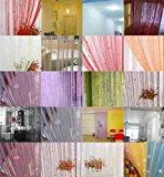 Ainest 1 x Fringe Crystal Beads String Curtain Tassel Door Window Room Divider 18 Color Sliver Gray
