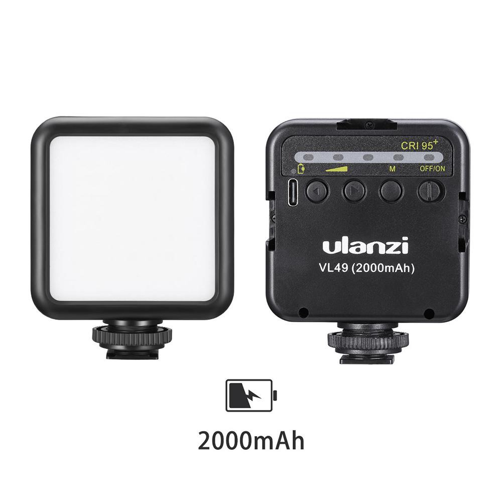 Vl49 Mini Led Video Light Portable Fill Light With Triple Cold Shoe Mount For Phone Cage Slr Vlog Camera black