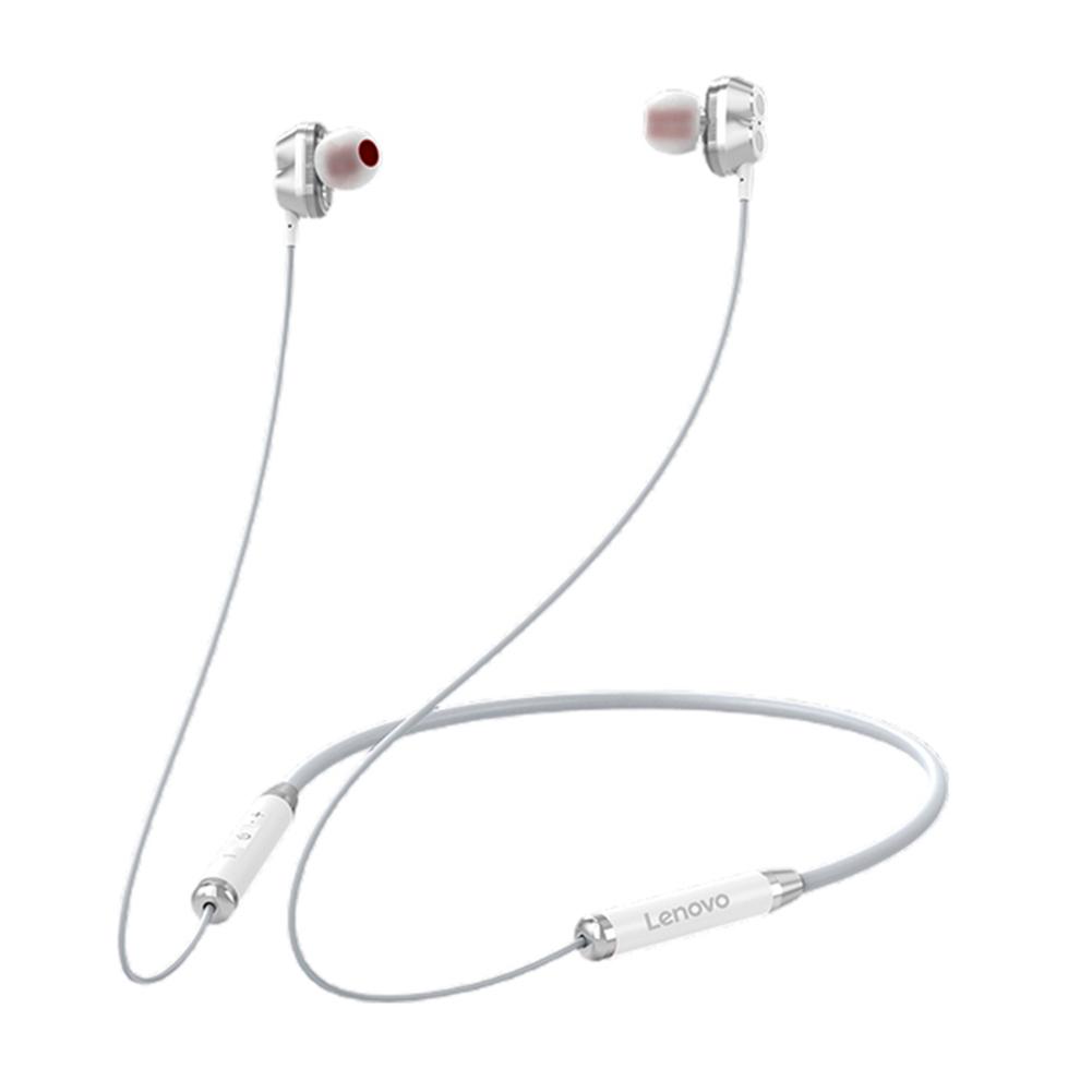 Original LENOVO He08 Dual Dynamic Neckband Bluetooth Headphones Tws 4 Speakers Hifi Stereo Headset white