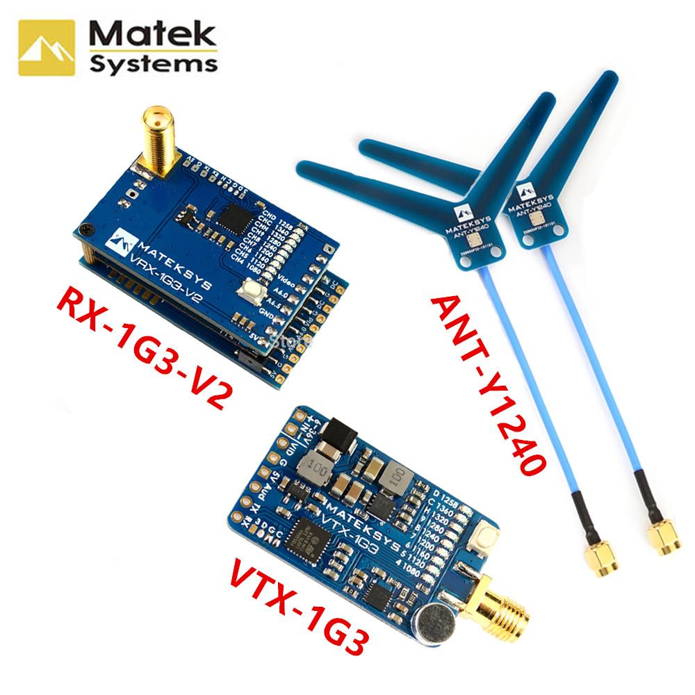 Matek System Mateksys VRX-1G3-V2 / VTX-1G3 1.3GHz FPV Video 2CH 9CH Transmitter 9CH Wid Band Receiver RC Drone Long Range Goggle Matek System VRX-1G3-V2 + VTX-1G3-9