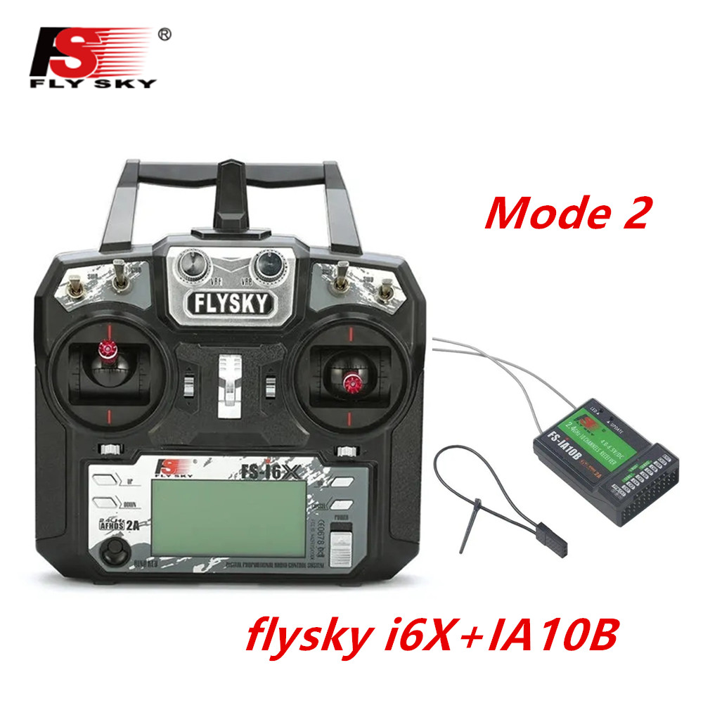 FLYSKY FS-i6X FS i6X 2.4GHz 10CH AFHDS 2A RC Transmitter X6B iA6B A8S iA10B iA6 Fli14+ Receiver for RC FPV Racing Drone Left hand single control+IA10B