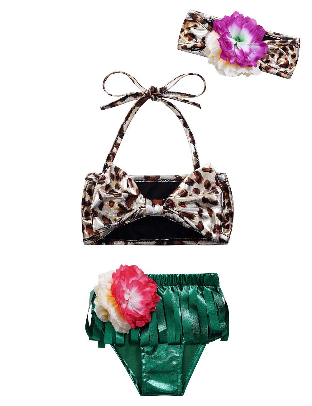 Baby Girls 3PCS Swimsuit Leopard Print Bikini Top Tassel Shorts Set + Headband