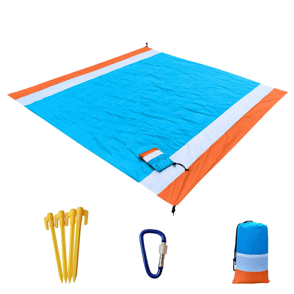 Portable Picnic  Mat Pocket Blanket Waterproof Beach Mat Blanket Ground Mat Mattress Outdoor Picnic Camping Tent Mat Orange white blue