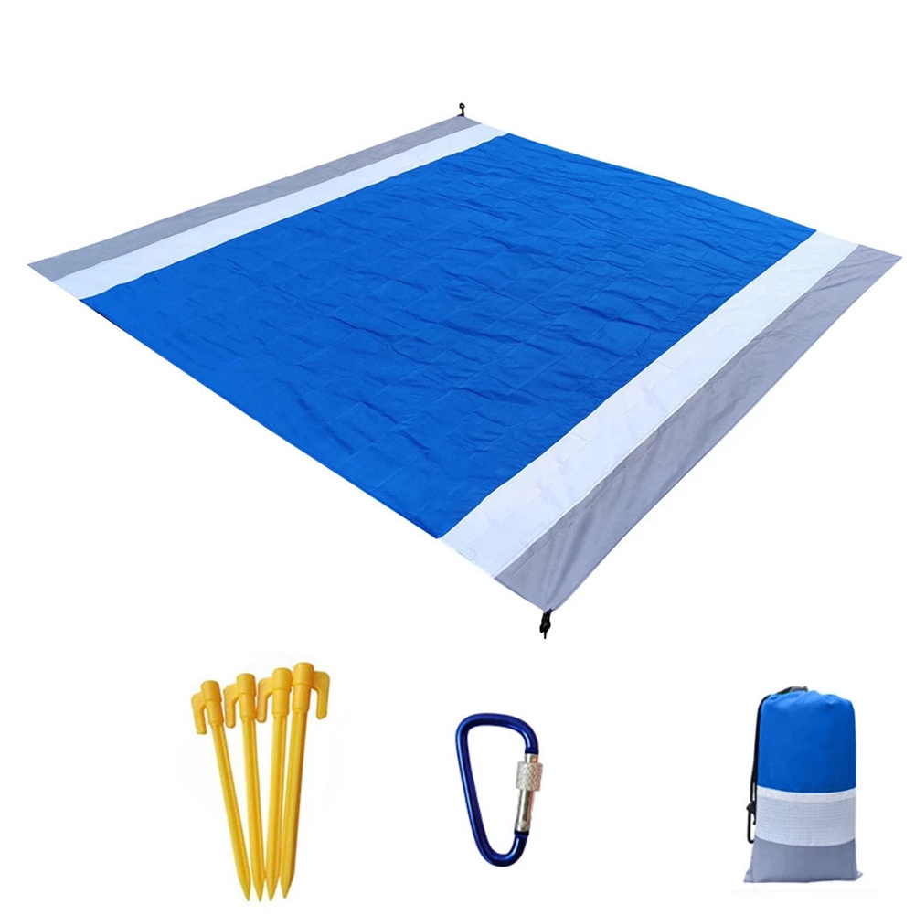 Portable Picnic  Mat Pocket Blanket Waterproof Beach Mat Blanket Ground Mat Mattress Outdoor Picnic Camping Tent Mat Off-white blue