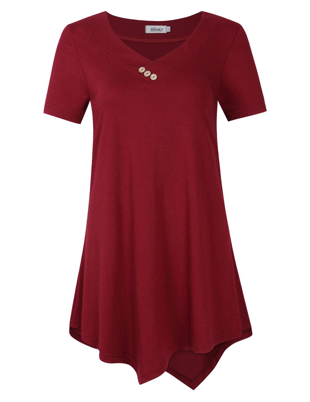 [US Direct] Missky Women's Short Sleeve V Neck Flowy Tunic Top Casual T-Shirt