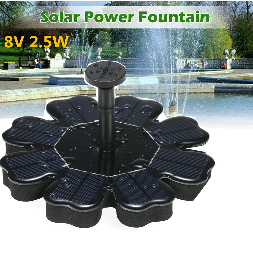 8V 2.5W Flower Shape Water Pump Solar Fountain  black