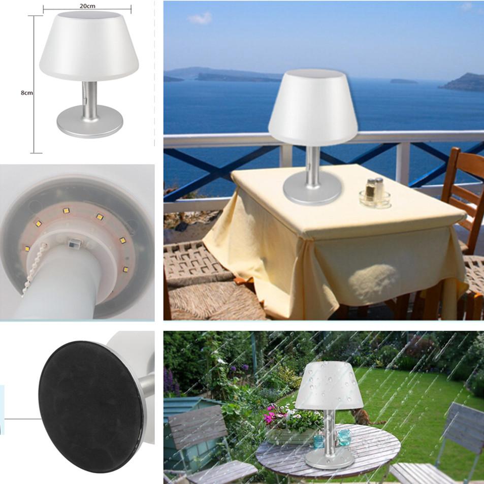 LED Waterproof Stainless Steel Solar Powered Table Lamp Basic Desk Lamp for Bedroom Outdoor  white light