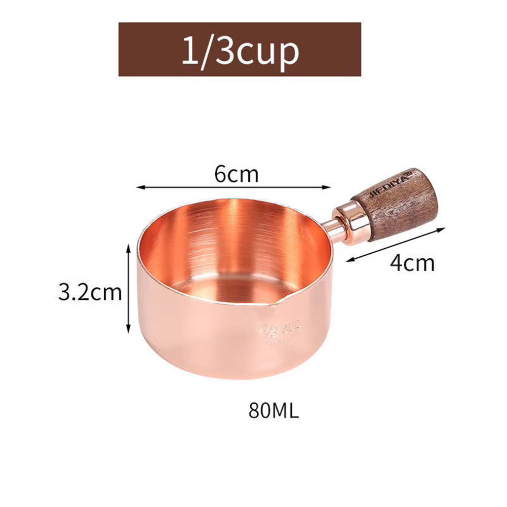 Sauce Pot with Rosewood Wooden Handle Sauce Cup Plate for Cooking Utensils 1/3 copper cup with wooden handle