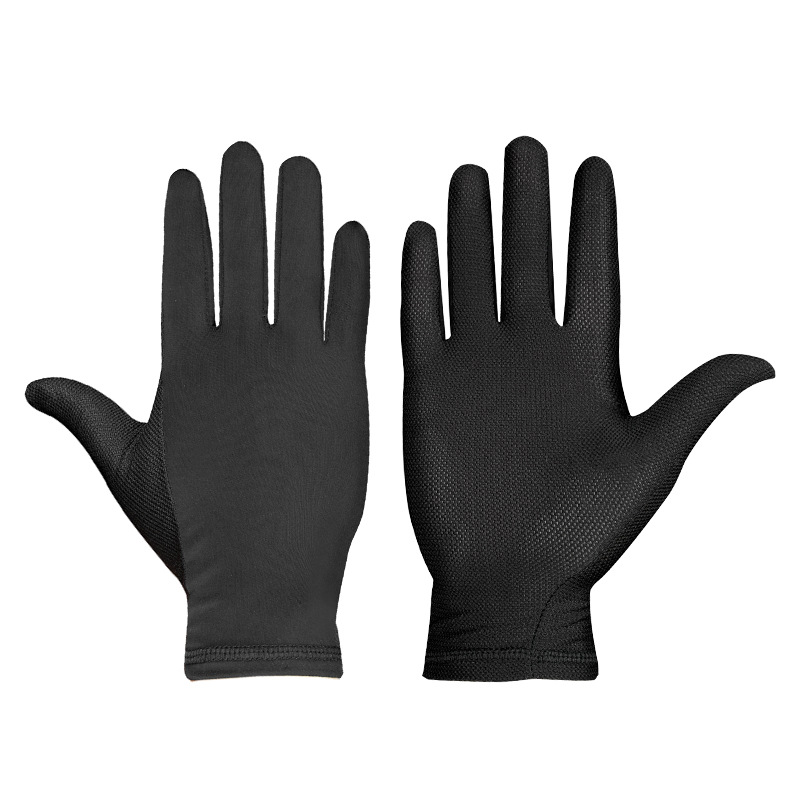 Ice Silk Quick-drying Gloves Breathable Absorbent Summer Cycling Gloves black_One size