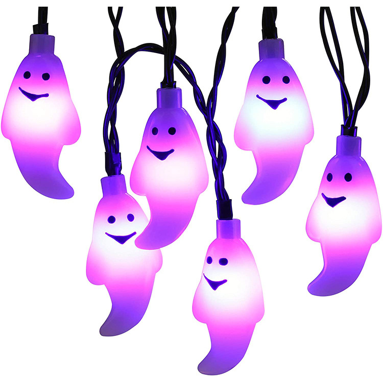LED Solar String Light Purple Spider Light for Halloween Party Garden Home Yard Decorations Milky White Ghost
