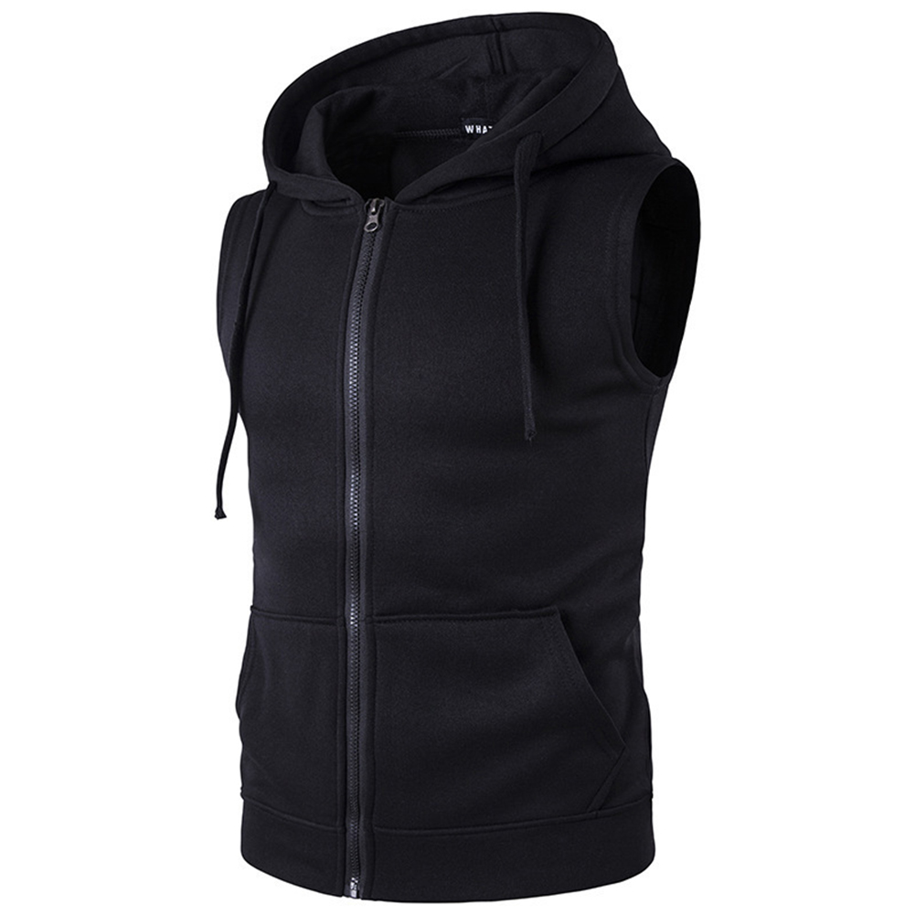 Men Women Sleeveless Hooded Tops Solid Color Zipper Fashion Hoodies  black_M