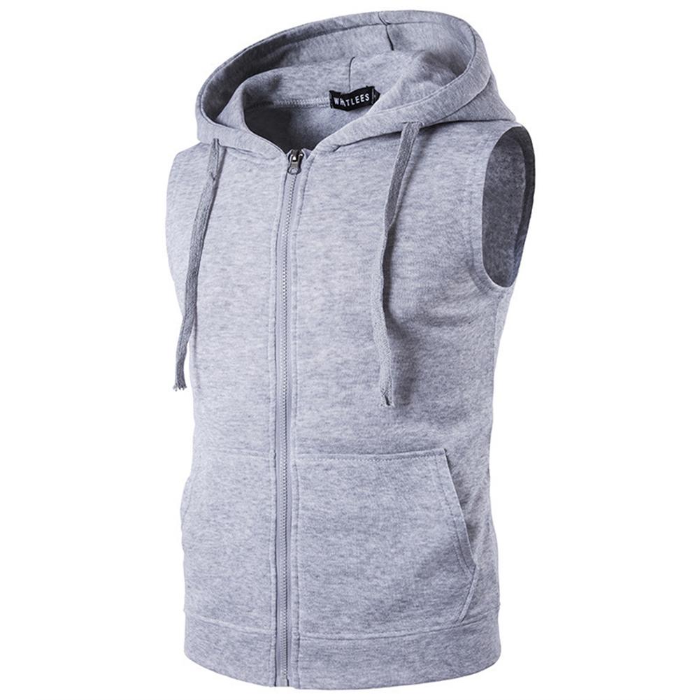 Men Women Sleeveless Hooded Tops Solid Color Zipper Fashion Hoodies  Light gray_L