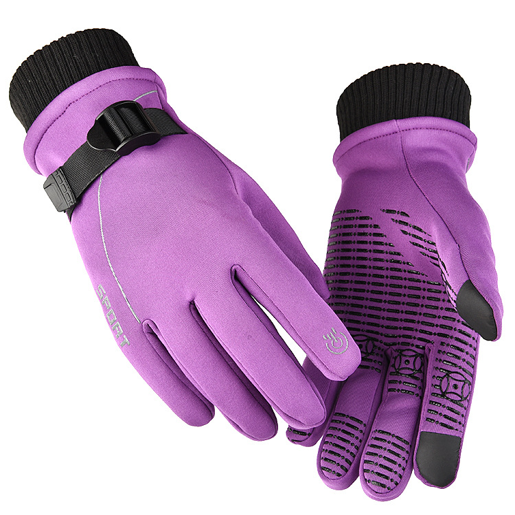 1 Pair of Warm Gloves Autumn and Winter Skiing Outdoor Cycling Non-slip Waterproof and Rainproof Fleece Gloves purple_Male models (suitable for palm size 21-23cm)
