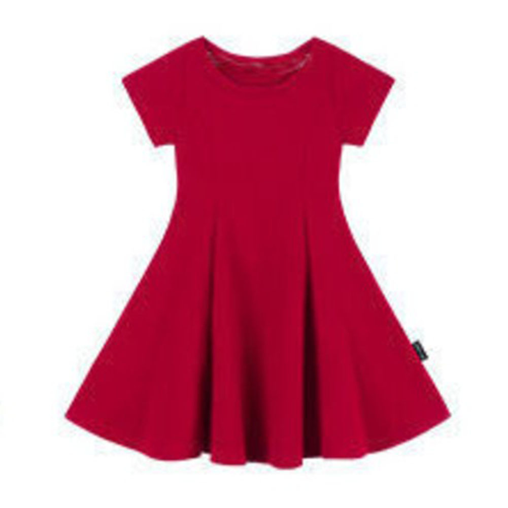 Girls Dress Pure Cotton Solid Color Slim Dress for 2-6 Years Old Kids red_130cm