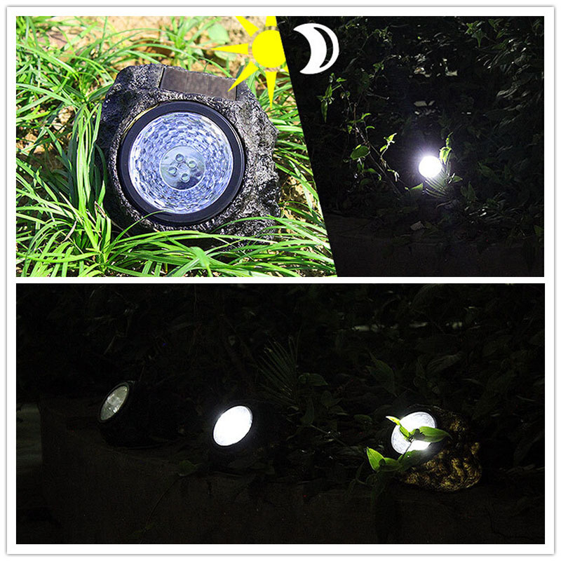 Solar Powered Decorative Resin Stone Spot Light, Outdoor Water Resistant 4 LED Landscape Lamp Light control imitation stone lamp