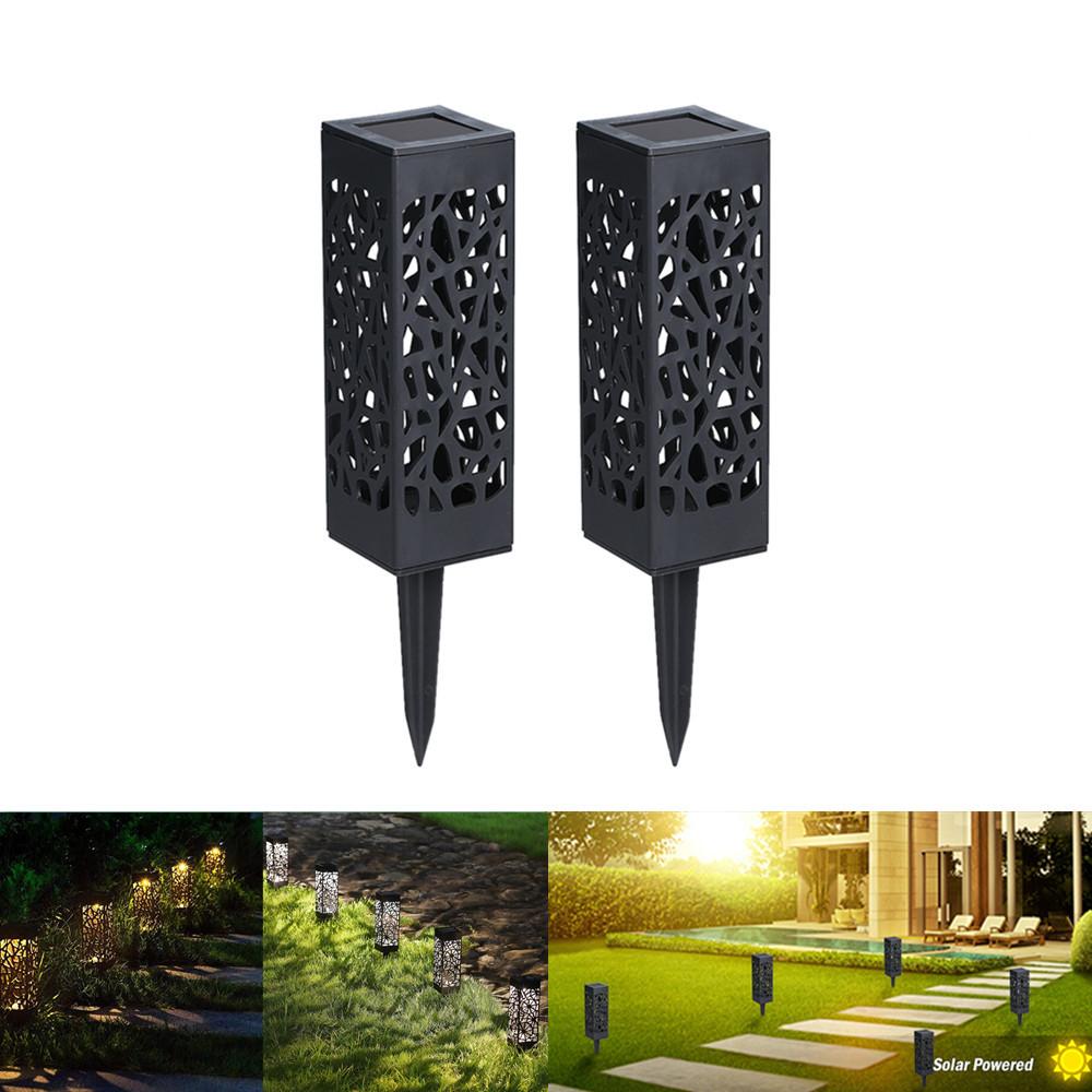 2Pcs Hollow Out Solar Energy Lawn Lamp Garden Courtyard Landscape Light White light 6500K