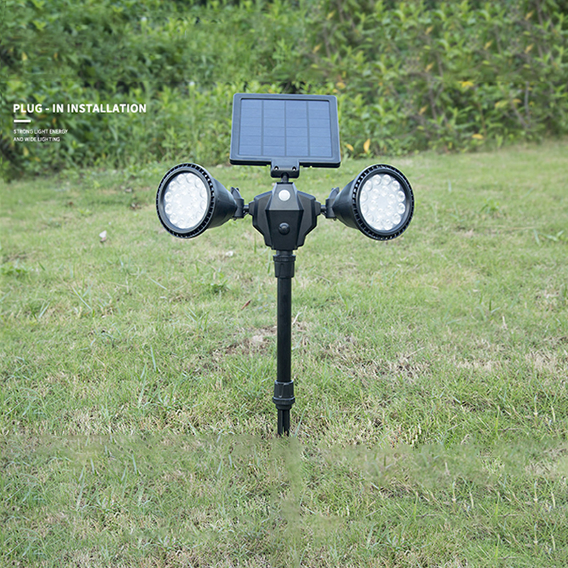 Outdoor Waterproof 36 LEDs Double Rotation Spotlights Solar Power LED Lawn Pin Lamp Yard Decoration White light