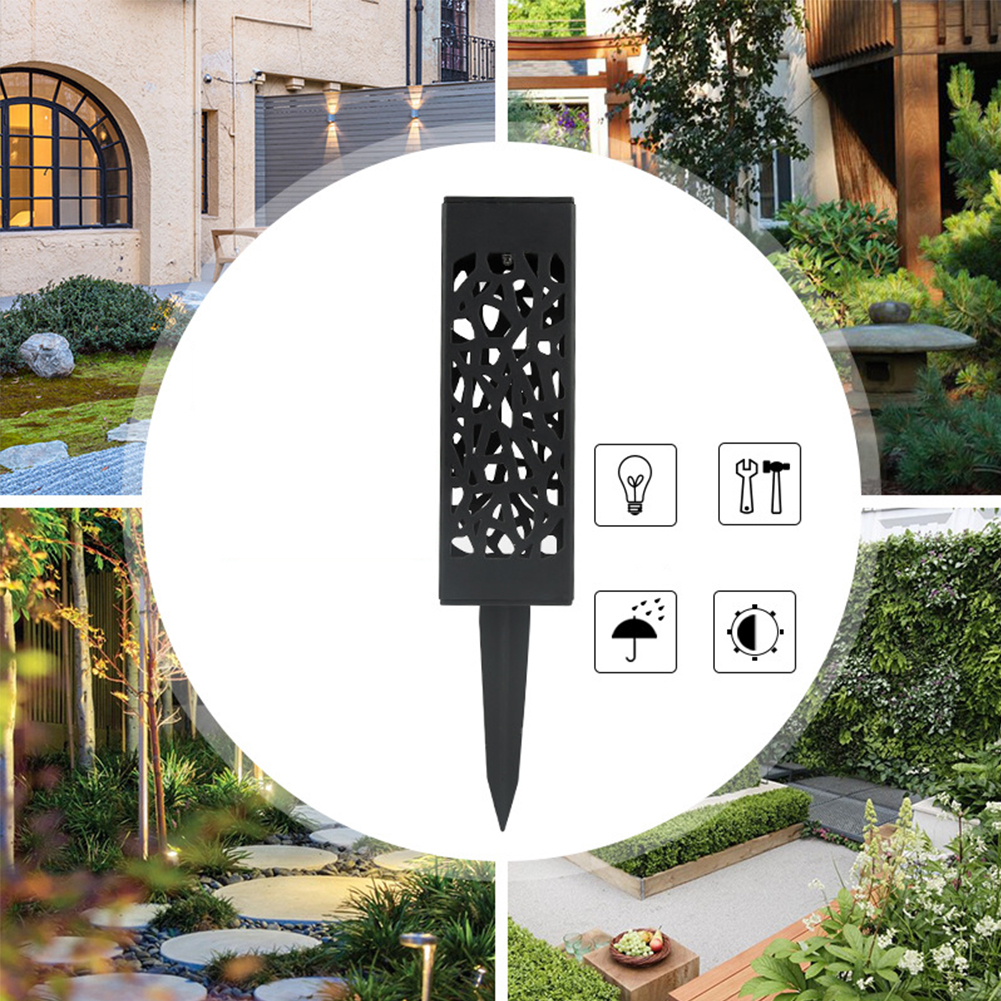 1PC LED Solar Powered Hollowed Out Lawn Lamp for Outdoor Decoration White light
