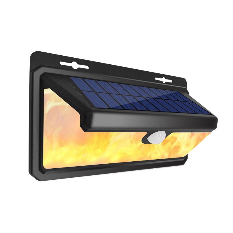 158LEDs Solar Powered Flameless Inducion Wall Light for Outdoor Garden Yard Road Lamp black