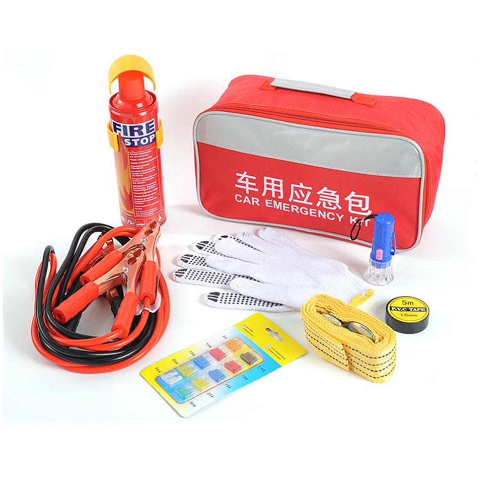 Oxford Bag Car Roadside Assistance Car Emergency Kit Set Car Fire Extinguisher Car Rescue Kit Red_8-piece set