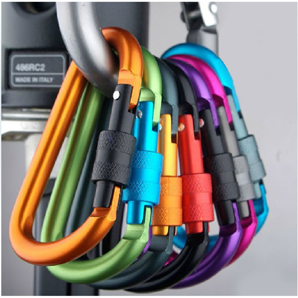 Multi-function Aluminium Alloy Mountaineering Buckle D-Ring Key Chain Clip Hook Camping Buckle Snap Random Color Random Color