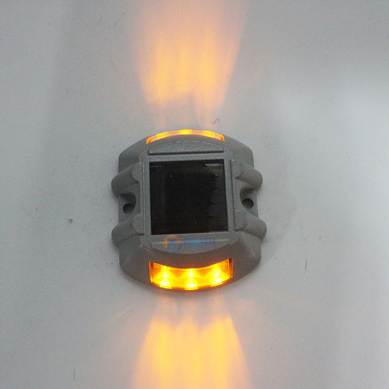 Solar Powered Raised Road Stud Light for Pathway Courtyard Deck Dock Yellow-always on