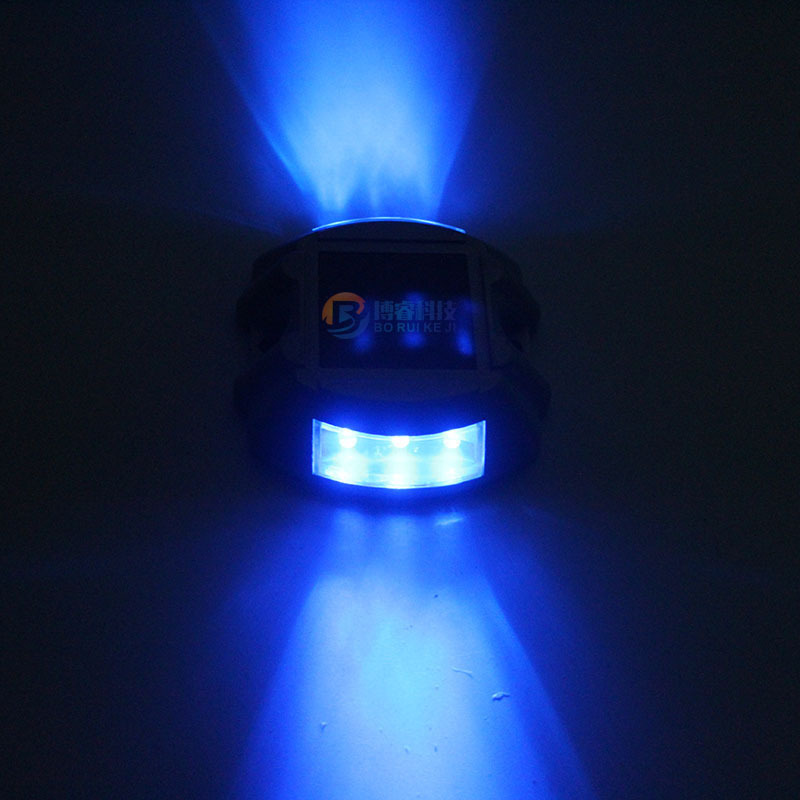 Solar Powered Raised Road Stud Light for Pathway Courtyard Deck Dock Blue-always on