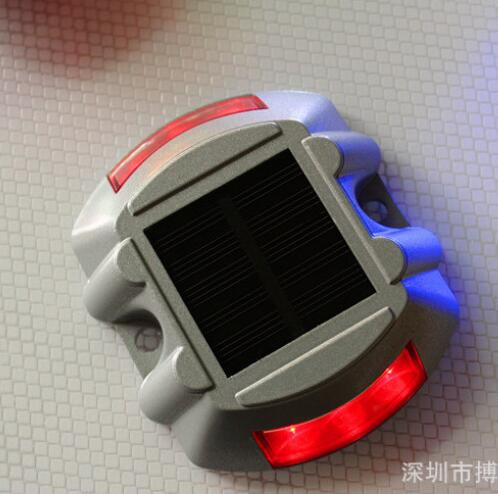 Solar Powered Raised Road Stud Light for Pathway Courtyard Deck Dock Red-flashing