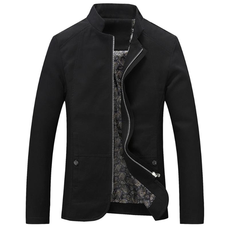 Men Casual Outdoor Slim Jacket Stylish Standing Collar Coat Cotton Tops  black_M