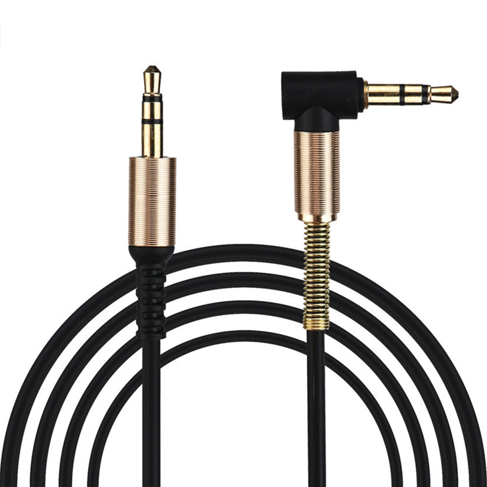 3.5mm Jack Audio Cable TPE Male to Male 90° Aux Cable 1m/3.28 inch black