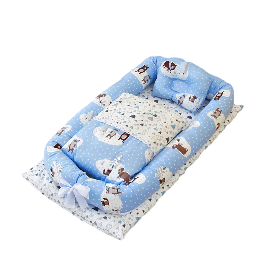 6  Pcs/set Baby  Crib Cotton Bionic Foldable Removable Washable Portable Bed + Quilt  +  Pillow Forest bear (with quilt)_50x90