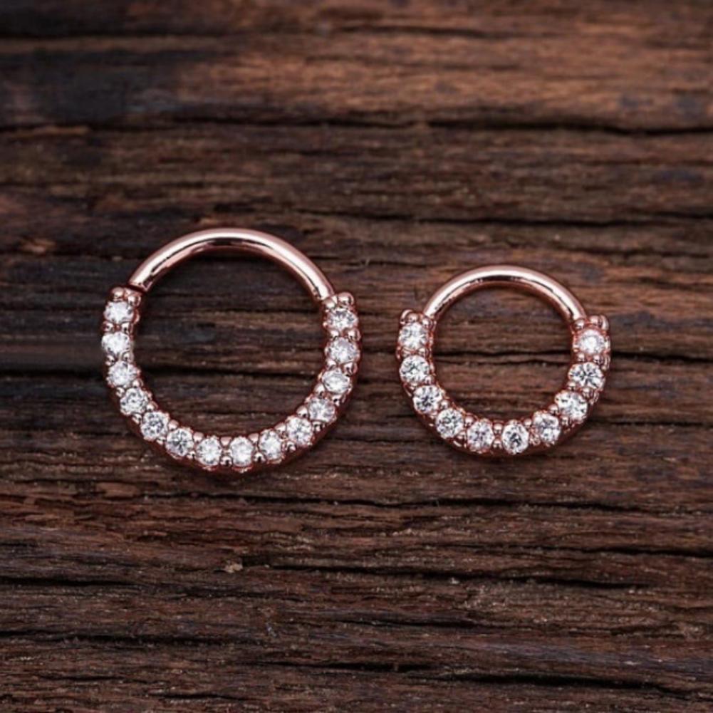 Piercing Hoop Earring Small Hoop Nose Septum Ring Piercing Silver Ear Bone Ring Rose gold_6mm