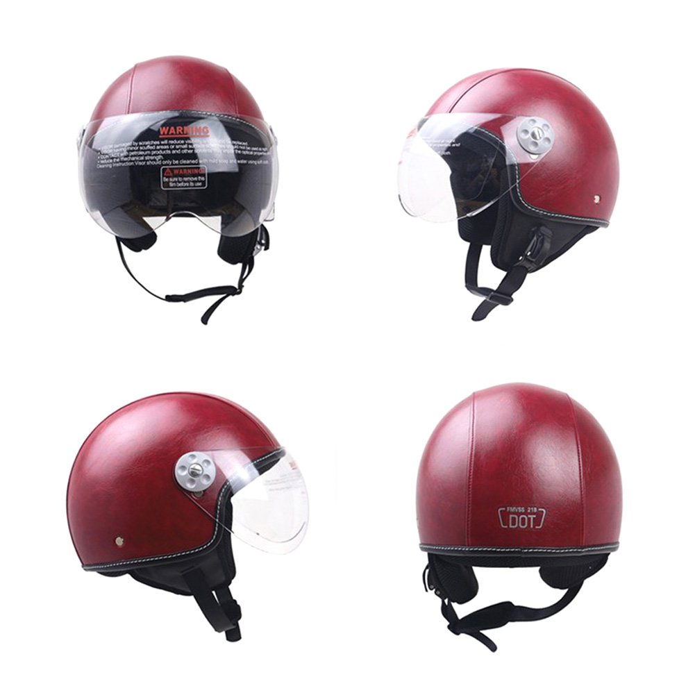 DOT Certification Helmet Leather Cover Scooter Vintage Helmet Coffee red L