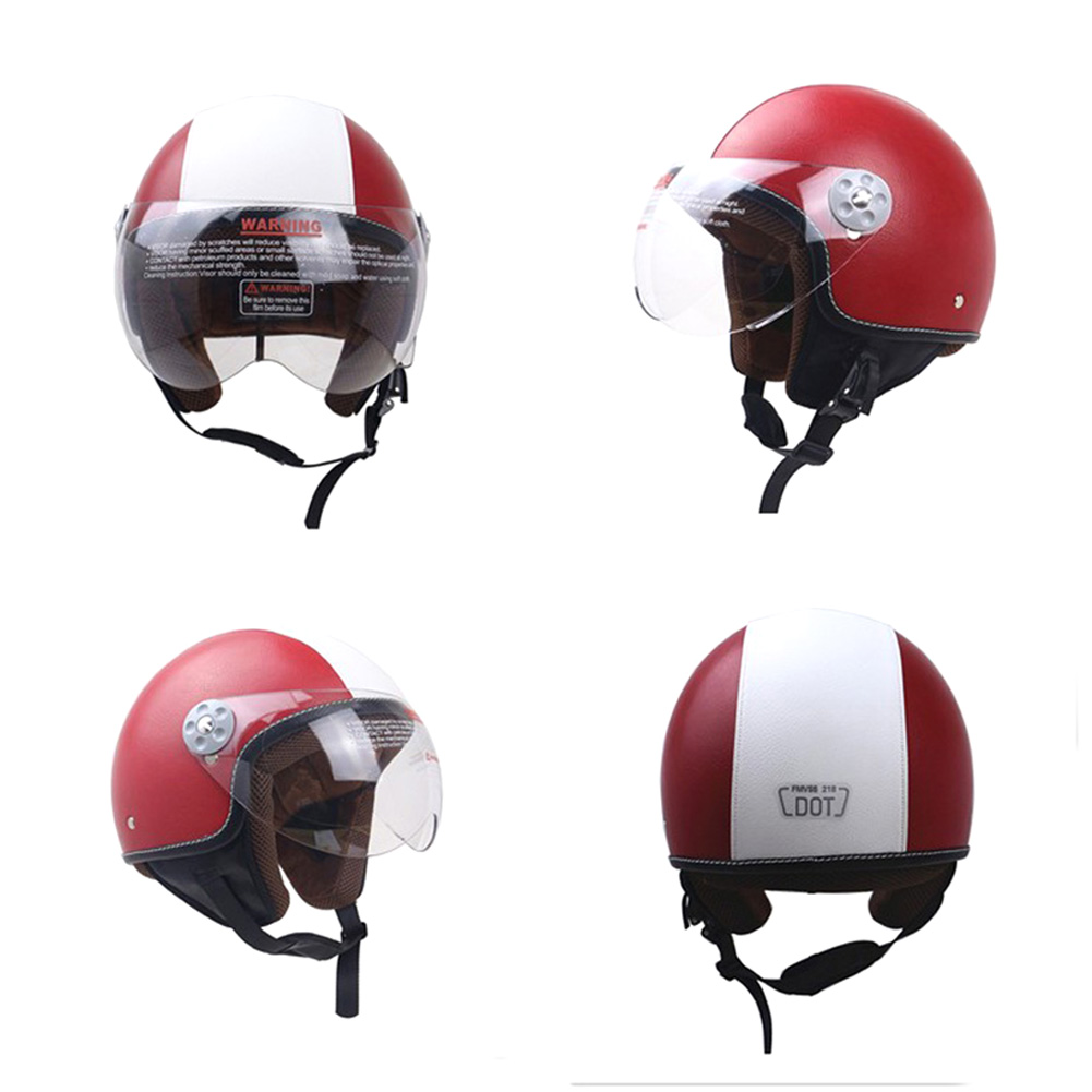 DOT Certification Helmet Leather Cover Scooter Vintage Helmet Red and white XL