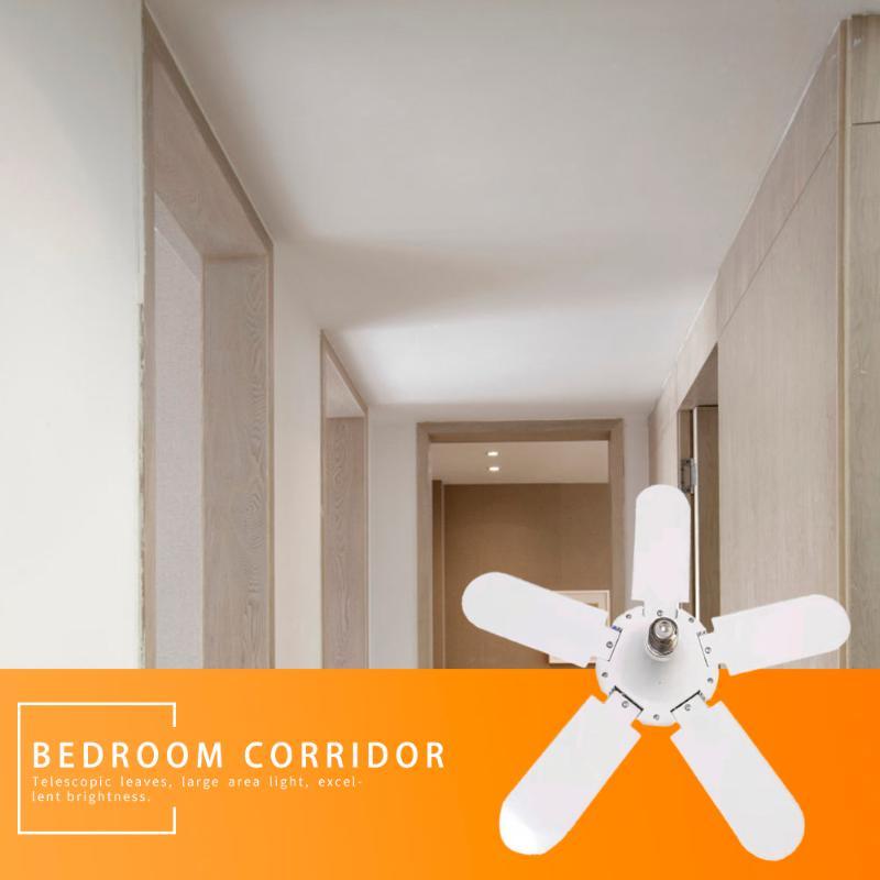 75W 140LED Deformable Light 5-leaf Folding 5800LM E27 Fan Shape Ceiling Workshop Garage Lamp