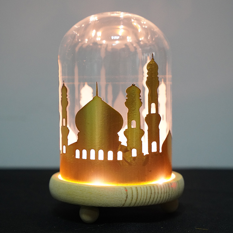 Muslim Ramadan Night Lamp LED Light Wooden Base Eid Festival Retro Holiday Decoration yellow_Wooden base