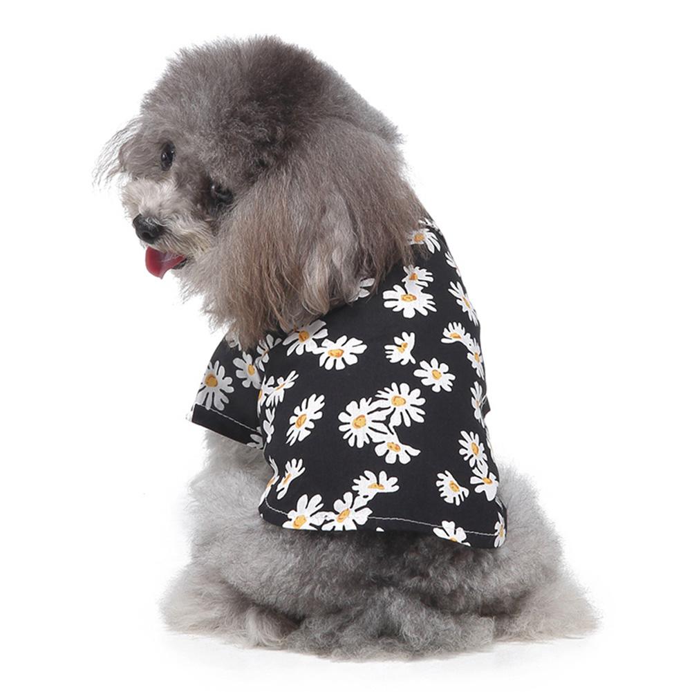Summer Flower Print Beach Shirt Dog Cat Casual Pet Travel Blouse  black_L