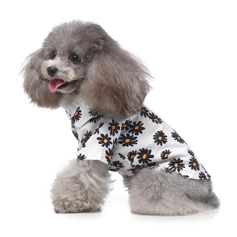 Summer Flower Print Beach Shirt Dog Cat Casual Pet Travel Blouse  white_M