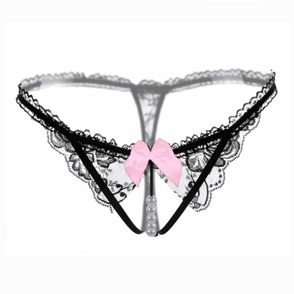 Women Sexy Underwear Pearl G-string Lace Ladies Panties Underwear Pants Thong 2111 # Black_One size
