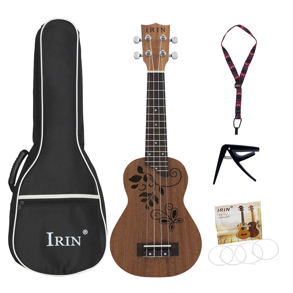 21inch Sapele Ukulele Hollow Carved Butterfly Leaves Rosewood Fingerboard Bridge Pad Small Guitar Musical Instrument 21inch
