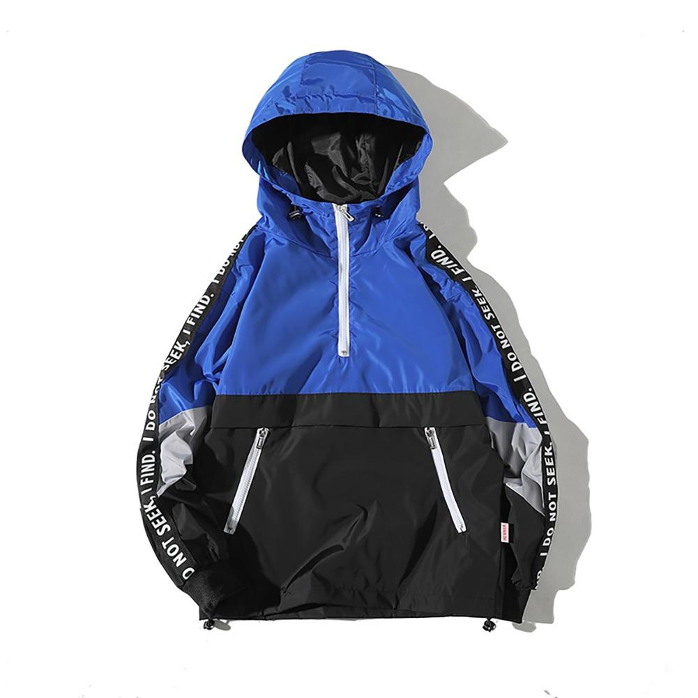 Men Spring Autumn Hooded Loose Large Size Pockets Jacket Coat blue_L